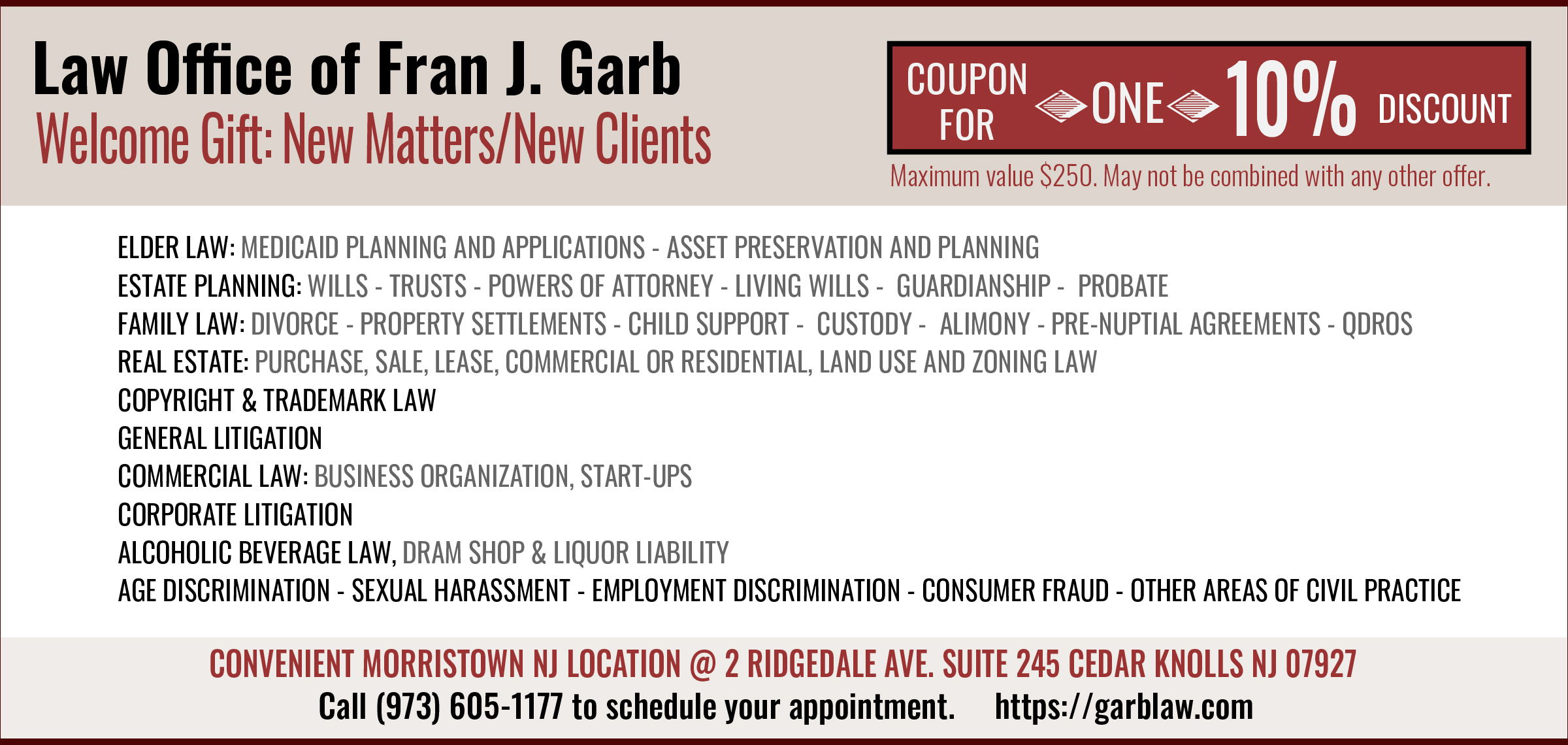 Call Morristown Attorney Fran J. Garb for family law, senior law, litigation